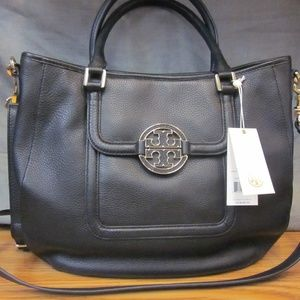 AUTHENTIC BLACK LEATHER TORY BURCH SATCHEL *NWT*